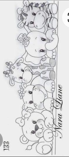 Art Drawings For Kids, Art Drawings Sketches Simple, Cartoon Drawings, Animal Drawings, Baby Clip Art, Baby Art, Animal Coloring Pages, Colouring Pages, Painting Patterns