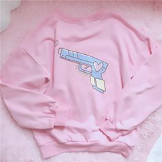 Bang Bang Crewneck Sweater Fairy Kei Style Pastel Aesthetic ~ So Kawaii Babe! 100% FREE Shipping Worldwide. No Taxes. No Shipping Fees. NADA! Tons more Kawaii, Lolita, Harajuku, Fairy-Kei, Larme, Pastel-Goth, Cosplay, Magical Girl, and Japan Fashion Goodies at www.KawaiiBabe.com #kawaiifashion,