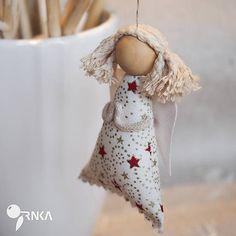 TRNKAsvet / Anjelik na zavesenie bordobo-zlatá hviezdička (copatý)
