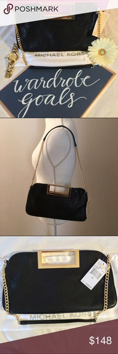 """This classy black leather with gold hardware Michael Kors bag will dress up any outfit. Can be used as a clutch or a shoulder bag.  """"Michael Kors"""" is etched into the gold handles on the bag.  BNWT and comes with the dust bag. Michael Kors Bags Shoulder Bags"""