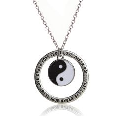 Vintage Silver Family Tree/ Yin Yang/Elephant Charm Love Dream Hope Trust Inspire Words Circle Pendant Necklace Gifts Yin Yang