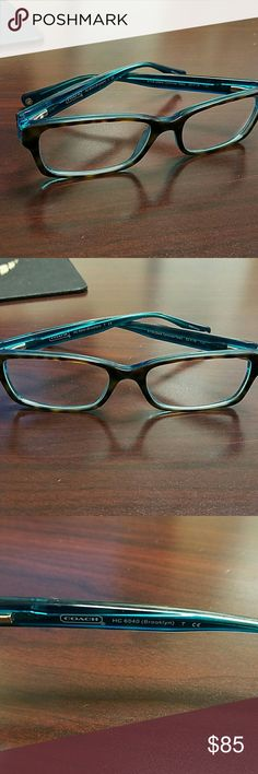 Authentic Coach eyeglass frames These are super cute geek chic dark tortoise/teal frames. They do have clear lenses in them now. No trades Coach Accessories Glasses