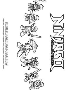 All Ninjago Ninjas With Sensei Wu And Nya Coloring Page