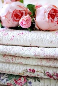 pink peonies and shabby chic quilts