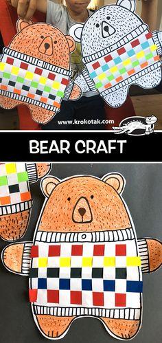 Most Popular Winter Crafts in Our Website - Outdoor Click Bear Crafts, Animal Crafts, Craft Activities, Preschool Crafts, Children Activities, Creative Activities, Winter Crafts For Kids, Art For Kids, Weaving Projects