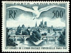 Bird over Paris - old postage stamp - France 1947 - Poste-Aerienne. Engraved by Pierre Gandon.