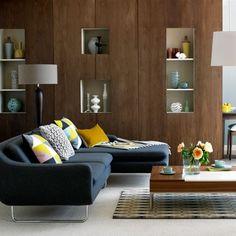 Love The Mid Century Sofa U0026 Walnut Panelling.