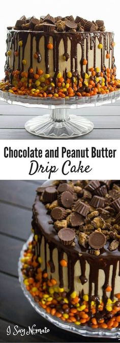 how to make a chocolate peanut butter drip cake with reeses pieces
