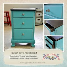 Deep South Vintage,  is taking advantage of General Finishes Java Gel Stain's rich beautiful color.  They used it to restyle the top of this nightstand as well as the side of the drawers.  Creative! You can buy General Finishes products at www.woodcraft.com, www.rockler.com, amazon and limited selection at www.leevalley.com in Canada. Or use your zip code to find a retailer near you at http://generalfinishes.com/where-buy#UvASj1M3mIY.