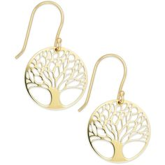 Giani Bernini 24k Gold over Sterling Silver Tree of Life Drop Earrings ($40) ❤ liked on Polyvore featuring jewelry, earrings, gold drop earrings, circle drop earrings, sterling silver drop earrings, gold circle earrings and sterling silver leaf earrings