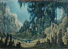 Twee schimmen in het dodenrijk (1963) Fantasy Landscape, Fantasy Art, Environment Painting, Trash Art, Spirited Art, Surrealism Painting, Classic Paintings, Witch Art, Psychedelic Art