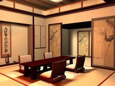 adore this ! arty Awesome japanese modern three floors house traditional tatami plans : Traditional Elegant Japanese Dining Room Design Interior With Picture Frames Wall And Door Elegant Wooden Dining Table And Chairs