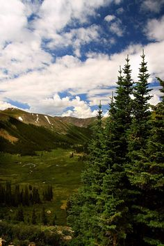Looking down into a valley below the summit of Independence Pass. August 5, 2008 in Colorado, USA.
