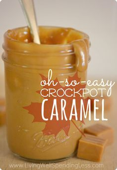 Oh-So-Easy Crockpot Caramel...you seriously won't believe how easy it is! Just one ingredient + a crockpot is all you need for the most delicious caramel sauce on the planet. Perfect for recipes, ice cream, or as an apple dip!