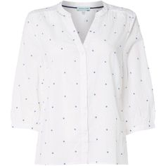 Dickins & Jones Penny Polka Dot Blouse (2.225 RUB) ❤ liked on Polyvore featuring tops, blouses, white, women, v neck blouse, white shirt, white polka dot shirt, white cotton shirt and v neck shirt