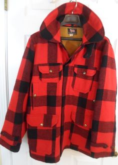 Vintage Men's Red Black Wool Buffalo Plaid Winter Coat 50's Hunter Sportswear Size 52 oqAXCvJ