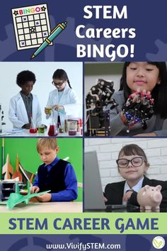 A BINGO career game for science, technology, engineering, math (STEM) careers! Includes career descriptions and fun facts about each STEM career. An easy, low-prep activity that can last from 20 - 60 minutes! Includes 32 game boards cover 24 STEM careers with a companion (editable) Google Slide presentation of each career! Fun Math Activities, Math Games For Kids, Hands On Activities, Bingo Board, Game Boards, Teaching Tips, Learning Resources, Stem Careers, Math Stem