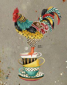 Art Print. Rooster Mardi. Tea Cups