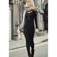Buttons Design Long Sleeve Round Neck Pullover Women's DressLong Sleeve Dresses | RoseGal.com
