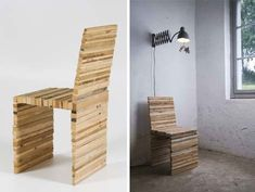 Recycled wood made into a chair