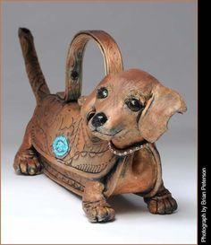 Stoneware dachshund teapot