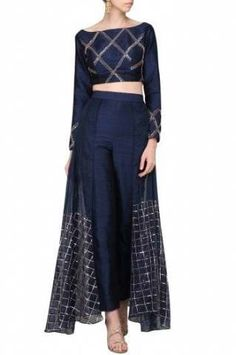 Pink Peacock Couture Featuring a navy blue pants in raw silk base with checkered rose gold embroidery on the overlay flap. It is paired with matching crop top in checkered embroidery. Party Wear Indian Dresses, Designer Party Wear Dresses, Indian Gowns Dresses, Dress Indian Style, Indian Fashion Dresses, Indian Designer Outfits, Indian Outfits, Fashion Outfits, Girls Dresses