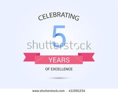 5 years anniversary, signs, symbols, simple design with red ribbon. - stock vector