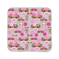 Cute Girly Pink Sock Monkey Girl Pattern Collage Square Stickers