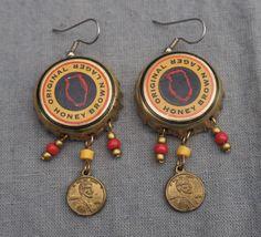 Stainless Steel Ear Hooks Charm Dangle Earrings Bottle Cap Earrings Handmade Gifts Beer Earrings