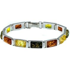 Certified Genuine Multicolor Amber and Sterling Silver Rectangular Bracelet Ian and Valeri Co.. $95.00. Save 24% Off!