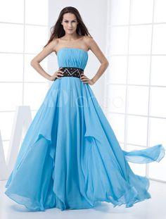 Blue  Strapless Empire Waist Chiffon Evening Dress-No.1
