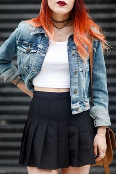 90s | looks | skirt | choker | jeans | blue | black | white | top | crop top | cute | girly | grunge |