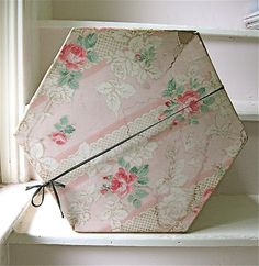 Vintage Wallpaper Covered Hatbox Hat Box
