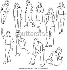 stock vector people drawing