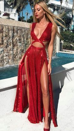 Red graduation gown sexy deep V evening dress sequin sleeveless ball gown high slit slim dress from Handmade Dress Hot Party Outfits, Prom Outfits, Girly Outfits, Homecoming Dresses, Dress Prom, Sexy Party Dress, Ball Dresses, Sexy Dresses, Ball Gowns
