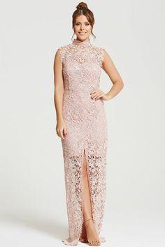 Chloe Lewis Collection Blush Crochet Split Front Maxi Dress