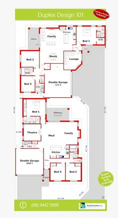 Discover our entire range of Dual Occupancy House Plans designed for the Perth metro area. From Single storey studio's to custom granny flats attached to the main home. We offer Double Storey and house behind house special purpose duplex style designs.