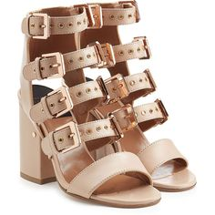 Laurence Dacade Leather Sandals (1 266 AUD) ❤ liked on Polyvore featuring shoes, sandals, rose, beige strappy sandals, block heel sandals, rose shoes, strappy block heel sandals and strap shoes