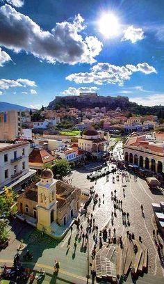 Monastiraki square and Acropolis (aerial view), Athens, Greece