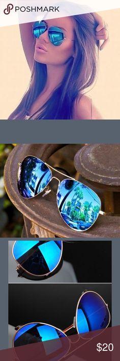 Blue Mirror Aviator Sunglasses gold Frame Blue Mirror Aviator Sunglasses gold Frame Accessories Sunglasses