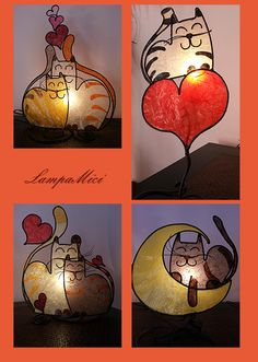 lovely cat lamps from Italy Stained Glass Lamps, Stained Glass Designs, Stained Glass Projects, Stained Glass Patterns, Mosaic Glass, Fused Glass, Cat Lamp, Tiffany Art, Cat Decor
