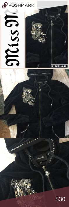 🎄Miss Me Velour Zip Hoodie/Blk/sz M Hot Holiday Style!  From Miss Me, this like-new velour zip hoodie will keep you warm in style! Beaded/sequin design on front, beaded trim around hood and hand warmer pockets. Silver Fleur de Lis zipper pull. 80% cotton/20% poly. Only worn once or twice. 🚫no trades, low offers not accepted. Miss Me Tops Sweatshirts & Hoodies