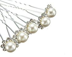 LONDONPROM 6 x Wedding Bridal Prom Diamante and White Faux Pearl Flower Hair Pins LondonProm http://www.amazon.co.uk/dp/B00L84HBO0/ref=cm_sw_r_pi_dp_Q5SRtb0SFGEQRQ1Q