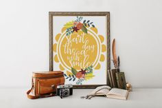 PRINTABLE Art Start the Day With a Smile by WishfulPrinting