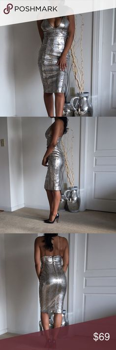 Rare London liquid silver sequin dress The base of this dress is olive green with silver metallic paint and gold and silver sequins. Back zip. Very stretchy. Spaghetti straps which also stretch to accommodate length. This is a gorgeous dress, just too big for me and I don't want to tailor and ruin the sequins. Marked as a US small, UK 8. I'm 5,5, 25 waist, 37 hip. Rare London  Dresses Midi