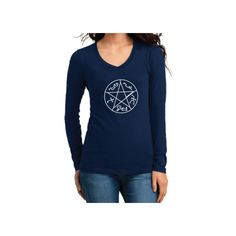 Supernatural Inspired Clothing Devil's Trap Symbol Long Sleeve v-Neck... ($16) ❤ liked on Polyvore featuring tops, black, women's clothing, print top, women tops, v-neck tops, print shirts and long sleeve henley shirt