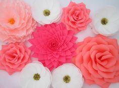 9 Paper Flowers/ Wall Flowers/ Arch Flowers/ Wedding Decoration/ Large Flowers/ Party Decoration/ Baby Shower Decorations/ Nursery Wall by LandofFlowers on Etsy https://www.etsy.com/listing/222478990/9-paper-flowers-wall-flowers-arch