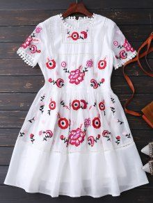 416d6f57b58d4 Embroidered Floral Dress. ZAFUL