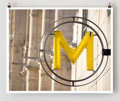 Paris Metro Sign -- Paris Photography, French Art Prints, Paris Art, Yellow Wall Art. $28.00 USD, via Etsy.