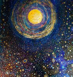 Rainbow Moon, mixed-media, ink, gold leaf, vintage glass glitter, by Tracy Oliver #art